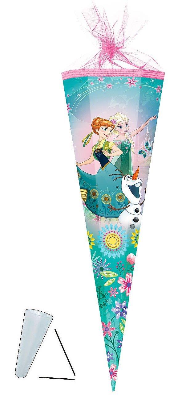 alles-meine.de GmbH Schultüte - Disney die Eiskönigin - Frozen - 22 cm - rund - mit Tüllabschluß - Zuckertüte - mit / ohne Kunststoff Spitze - für Mädchen - völlig unverfrore..