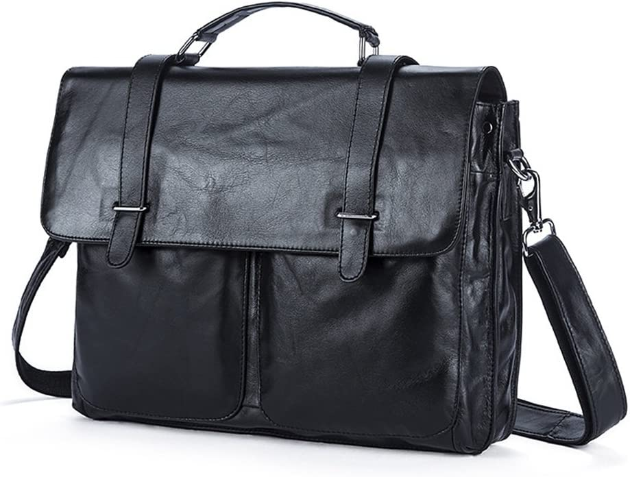 Color : Gray Bxfdc Mens Shoulder Bag Europe and America Messenger Bag Mens First Layer Leather Mens Business Briefcase Portable