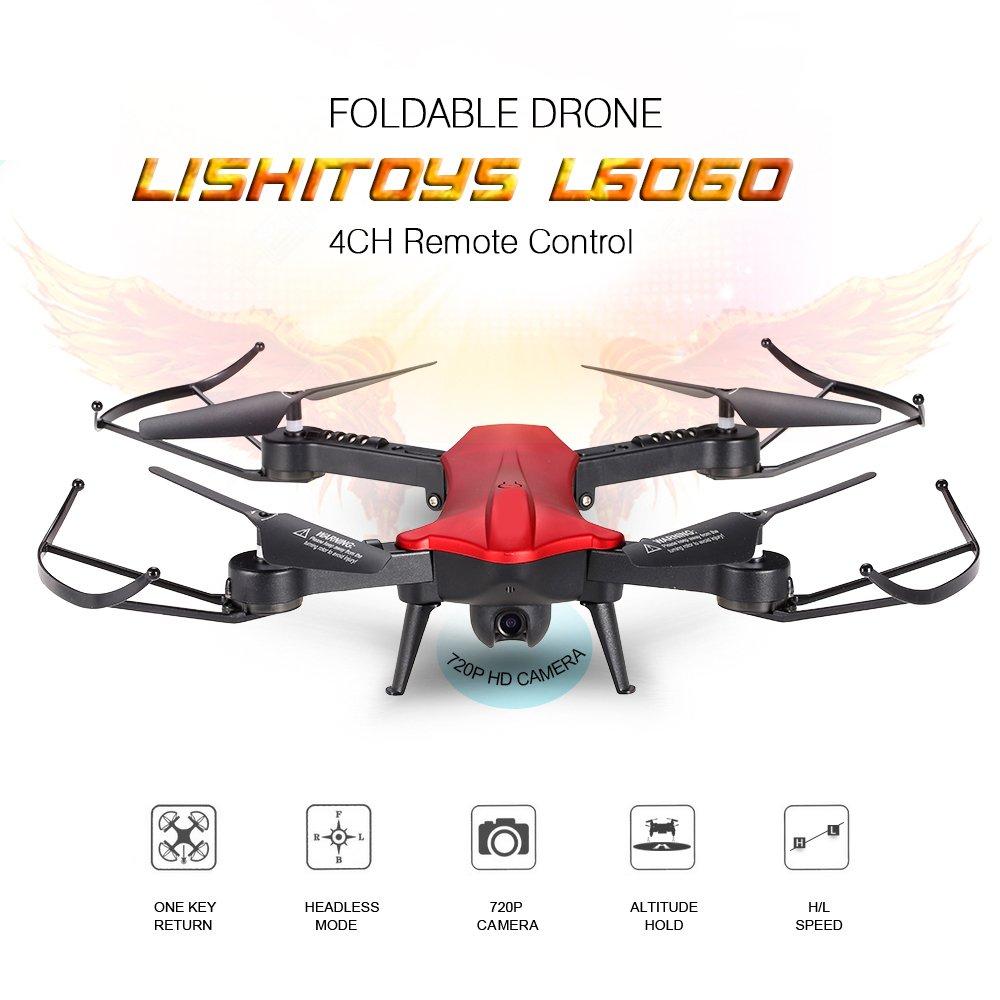 Hanbaili L6060W RC Klappdrohne mit 120 ° Weitwinkel WIFI 720P Kamera Echtzeit-Übertragung, One-Key-Landung / Return, Flugbahn Flug, Sprachsteuerung, Gravitation Sensing, Beste Drohne für SIE