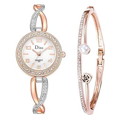 Beladla Reloj De Pulsera para Mujer Rosa Horas De Moda Simple con Diamantes Cuarzo AnalóGico Relojes De Pulsera con Pulsera: Amazon.es: Ropa y accesorios