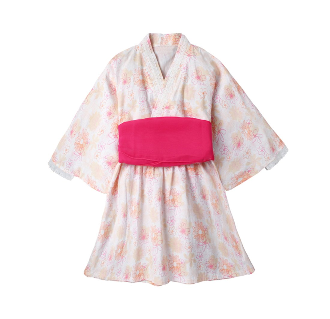 ACVIP Little Girls Flower Print Kimono Dress Robe Japanese Costume (4-5 Years/Tag 120, Pink)