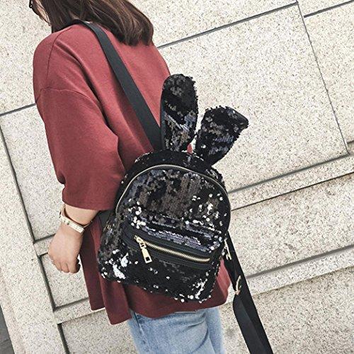 Sequins Travel Zerototens Women Daypack Glitter School Black Backpack Backpacks Bag Rucksack Bling Shoulder Artificial Leather Quality High fR5RSw8q