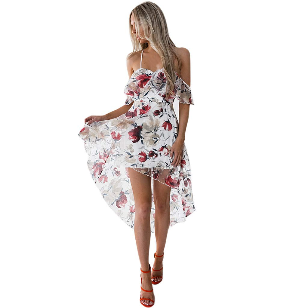 OIKAY Sommerkleid Damen lang Damen Blumen Maxi Kleid Schulterfreies Abendkleid Strandkleid Party Schulter Kleider Schulterfreies Kleid