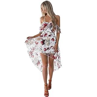 GONKOMA Womens Off Shoulder Dresses Summer Boho Flower Beach Sundress Long Maxi Dress GONKOMA Dresses