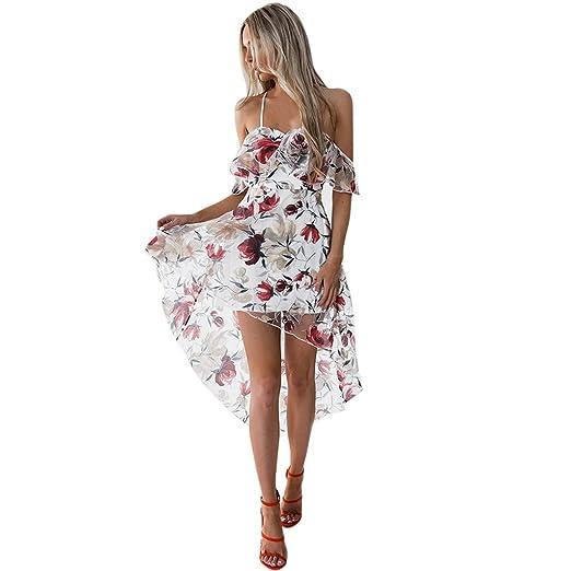 c99e3da0ad Xavigio_Women Dresses Womens Off Shoulder Strap Boho Floral Printed  Irregular Hem Summer Beach Maxi Dress at Amazon Women's Clothing store:
