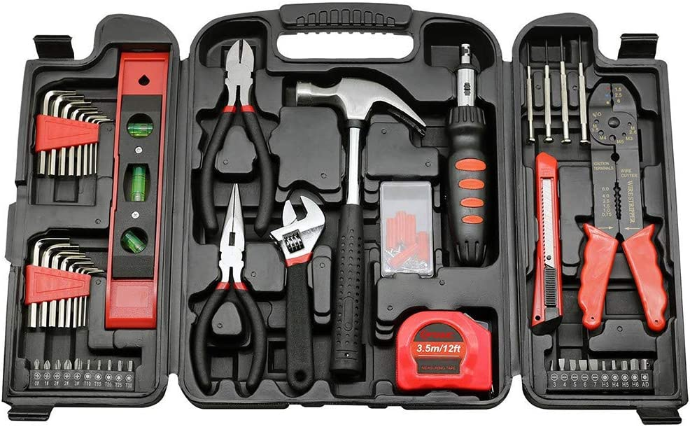 129 Pcs Tool Set-General Household Hand Tool Kit Auto Repair Tool Set Hand Tool Kit with Plastic Toolbox Storage Cas.