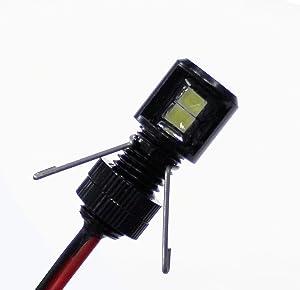 Oznium Side View LED Bolt - 12V LED Side Emitting Light for Bumper, Grille, Cars Interior, Dash, Ambient Lighting, Motorcycle with Aluminum Housing & Screw Nut (8 mm Black, Amber LED)