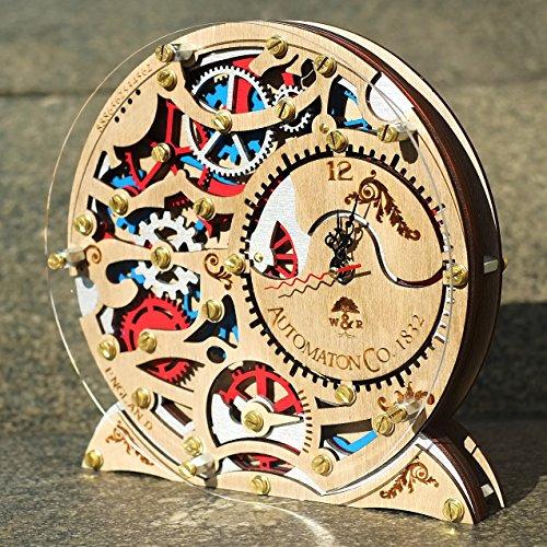 Automaton 1832 wooden decorative table clock, unique clock, personalized gifts, anniversary gift, mantle clock, home decor, desk clock