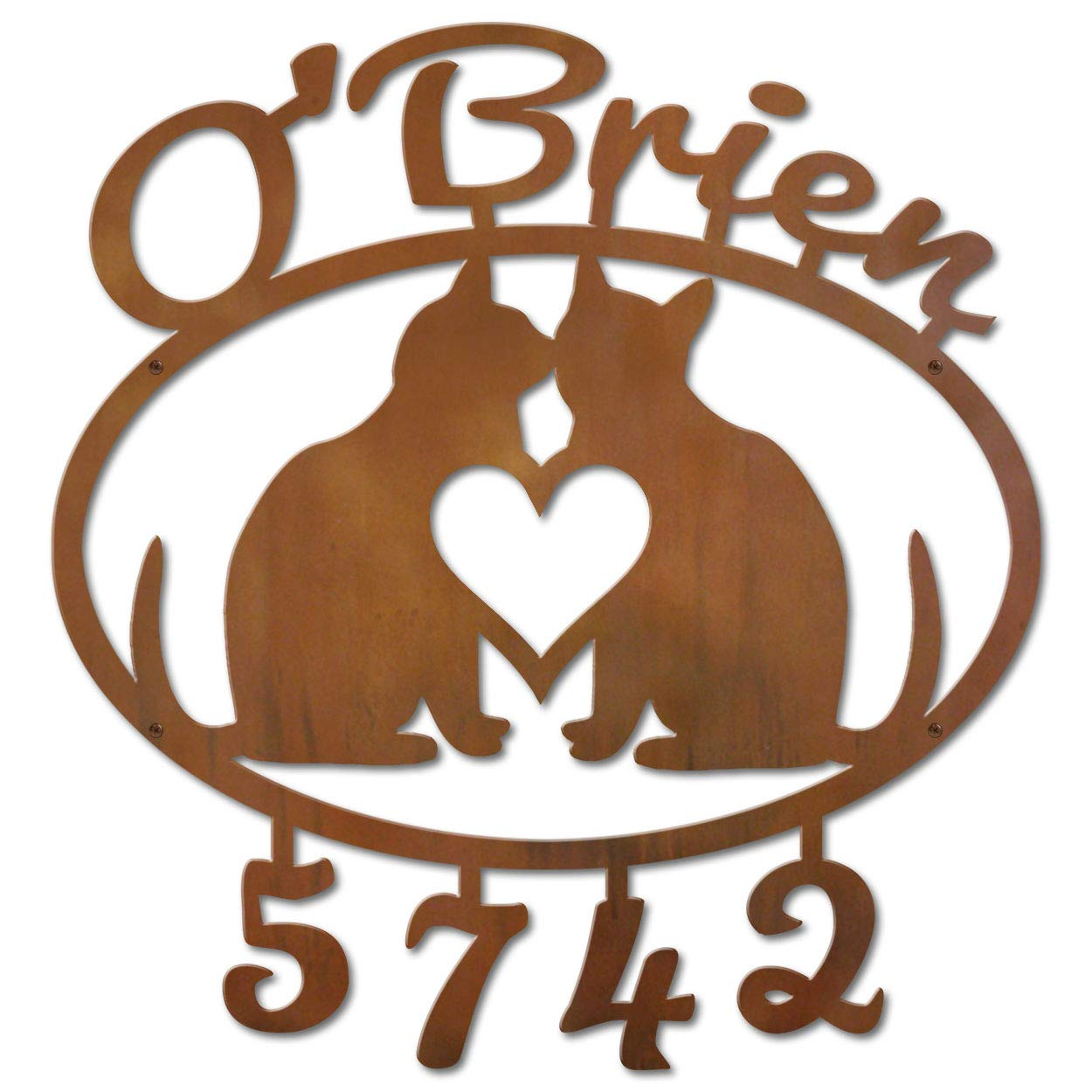 Cold Nose Creations 22in Oval Steel Address Name and Numbers Sign - Love Cats - Rust Metal Finish - Made in USA