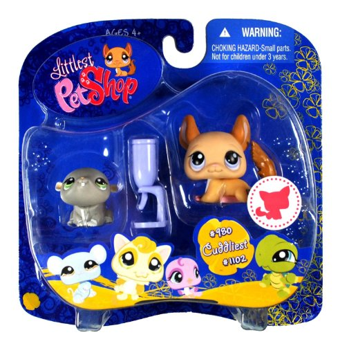 (Littlest Pet Shop Cuddliest Pet Pairs Portable Collectible Gift Set - Hamster (#980) and Chinchilla (#1102) Plus Water Bottle)