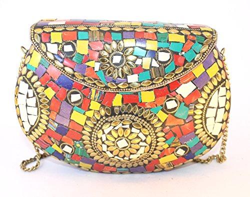 Mehrfarbig Multicolor S Metal Para Handmade Cartera Mujer De Mano Bunt PTwPaqH0