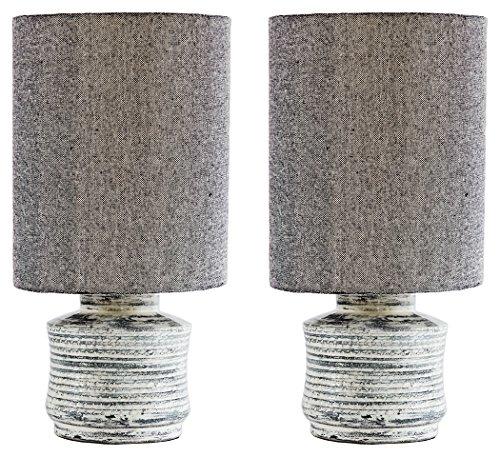 Ashley Furniture Signature Design -  Marcario Modern Table Lamp Set of 2 - Antique White ()