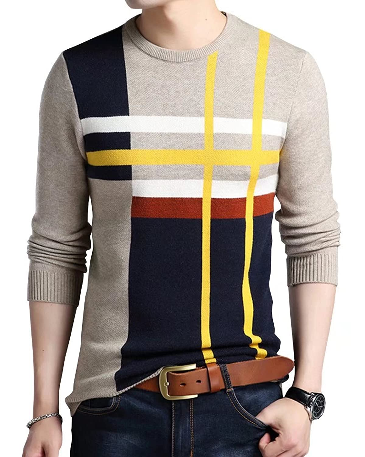 Men's Vintage Style Sweaters – 1920s to 1960s Wxian Mens Winter Round Neck Knitting Warm Pullover Sweater  AT vintagedancer.com