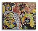 Dean Russo Thoughtful Pit Bull Year Love Printed on 11x14 Wood Pallet Slats Wall Art Sign Plaque Distressed Design