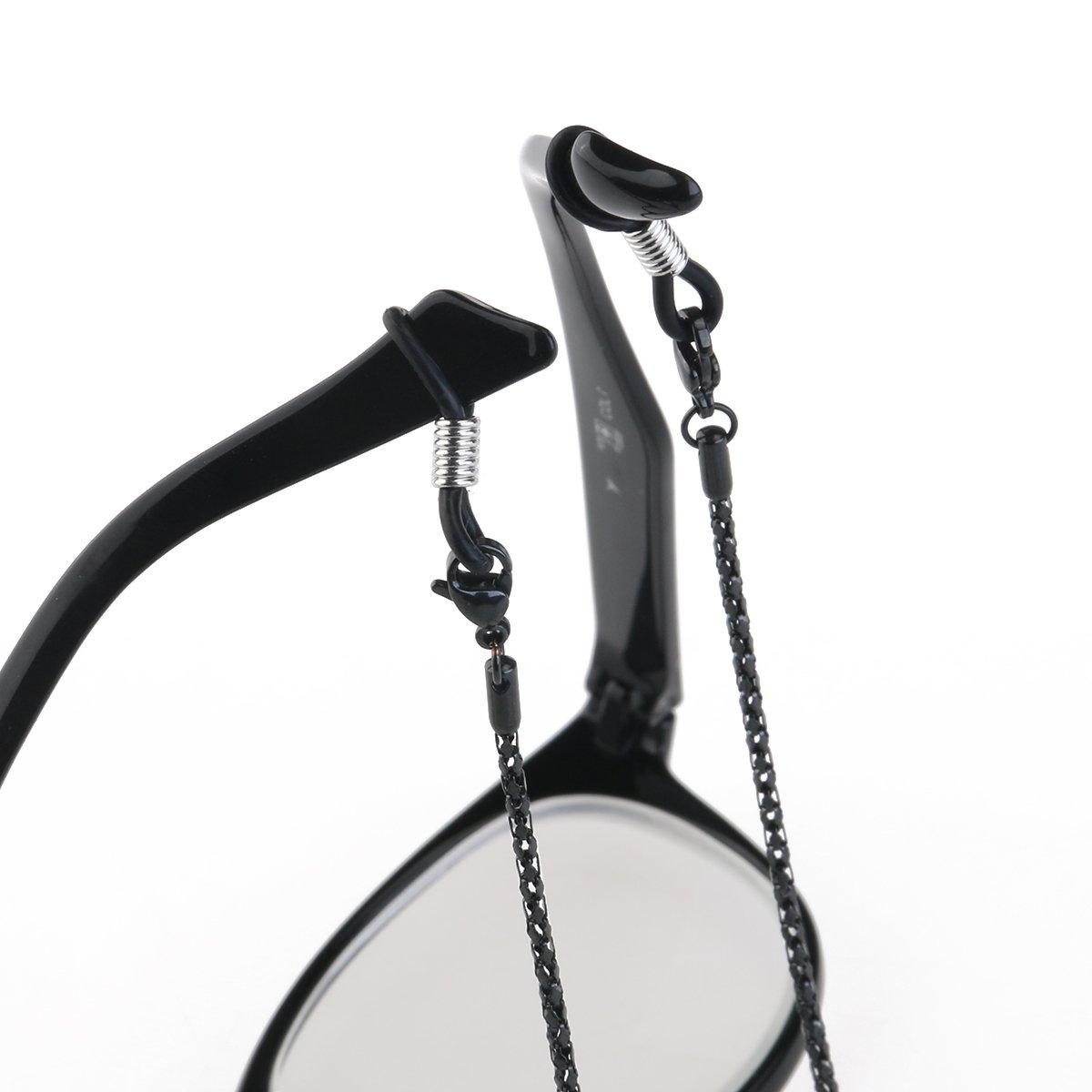 LUOEM Anti-Rutsch-Brillen Sonnenbrillen Gl/äser Hals Gurt Brillen Kette f/ür Brille Seil Gurt Halter schwarz