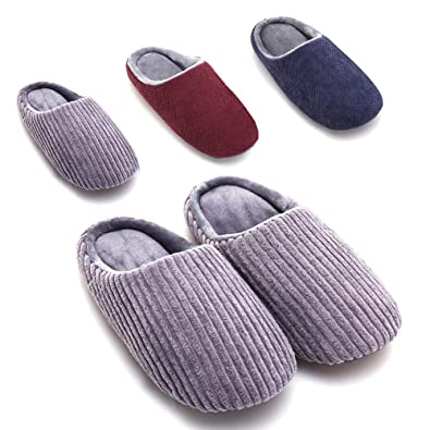 4fe0fad687a7 OWUNI Women s and Men s House Slippers Memory Foam for Women Men Indoor  Outdoor Slip on House