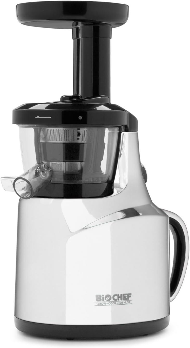 Extractor de zumos BioChef Slow Juicer - Exprimidor lento con tecnología Cold Press ¡El más pequeño y económico! 3 años de garantía y 30 días de prueba (Blanco): Amazon.es: Hogar