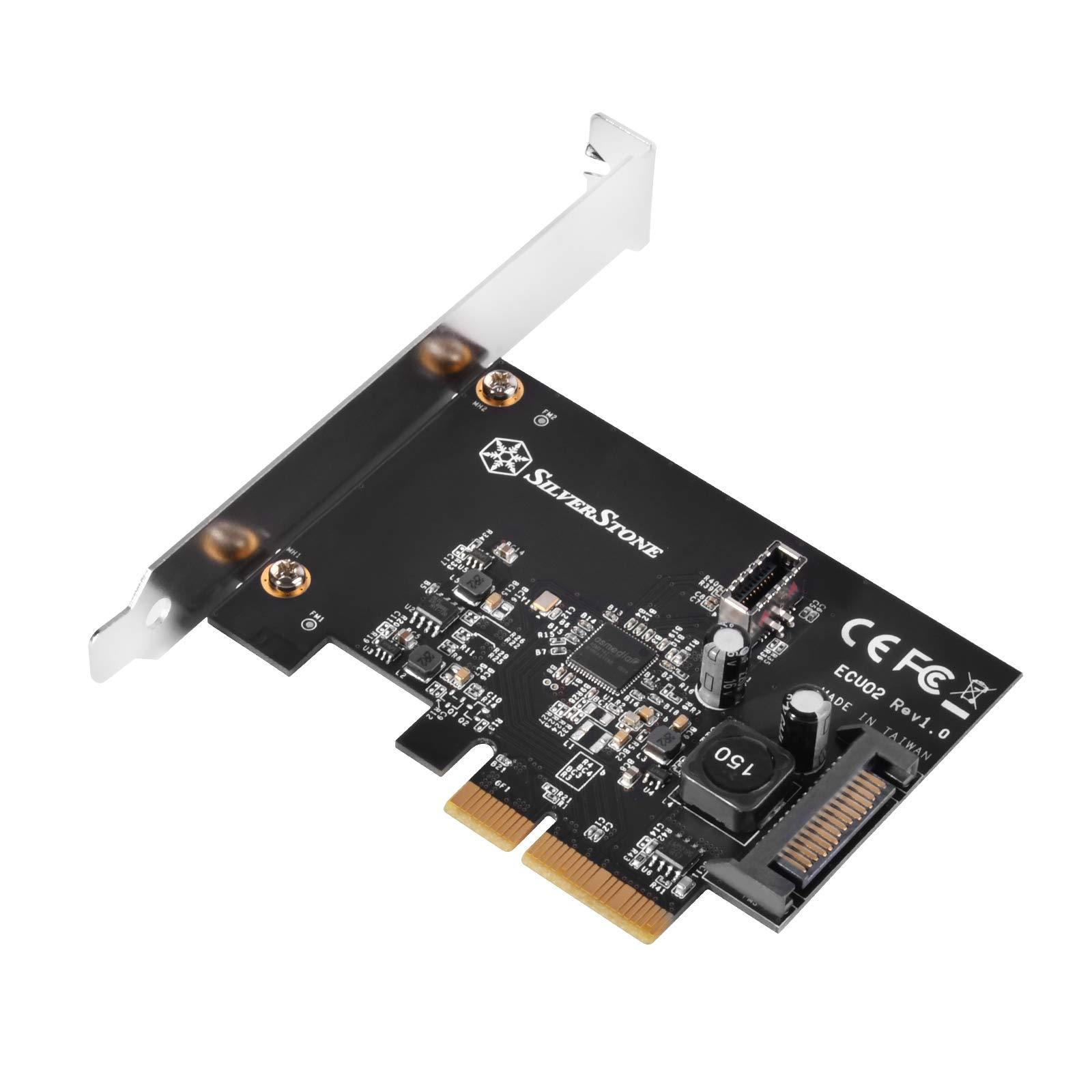 SilverStone Technology USB 3.1 Gen 2 Conector interno de 20 pines Tipo-C Encabezado de puerto a PCIe Gen 3.0 X2 Ecu02