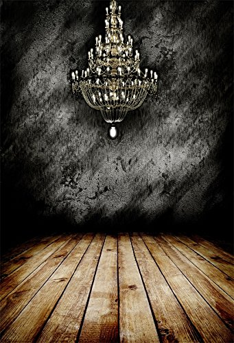 Yeele Light Backdrops 5x7ft /1.5 X 2.2M Chandelier Black Wall Wooden Floor Pictures Adult Artistic Portrait Photoshoot Props Photography Background