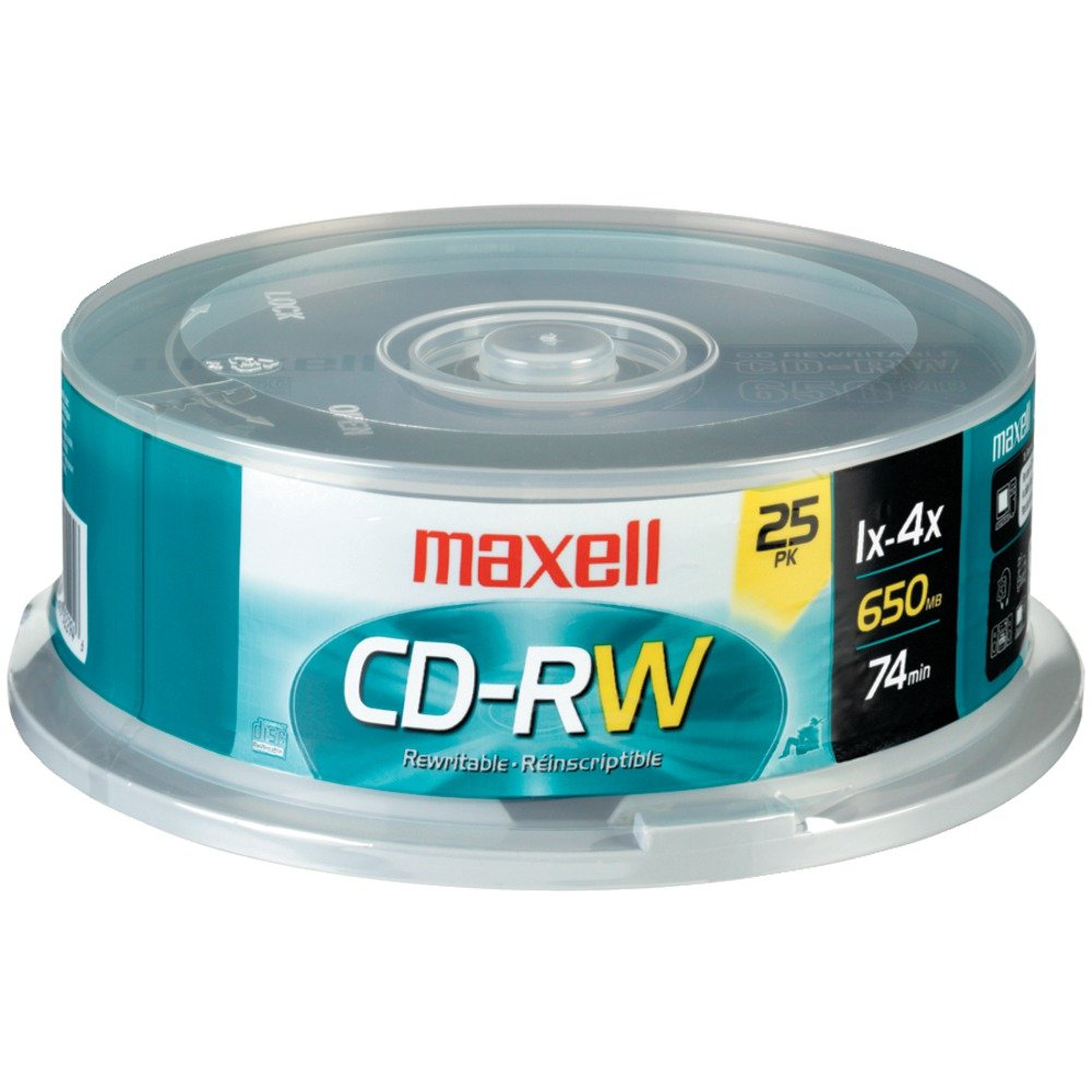 MAXELL 630026 80-Minute/700MB CD-RWs (25-ct Spindle)