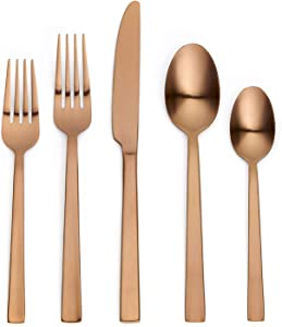 Ornative Emma 20-Piece Stainless Steel Flatware Set  Silverware Set for 4  Copper   Includes Forks, Knives, and Spoons  Dishwasher Safe  Durable and Easy Care  Best Silverware
