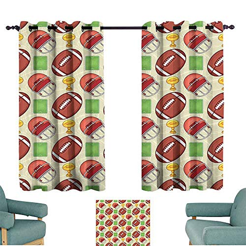 HCCJLCKS Thermal Curtains Football Equipment Icons Arena Ball Trophy Cup Winning The Championship Theme Children's Bedroom Curtain W63 xL63 Dark Coral Green Yellow