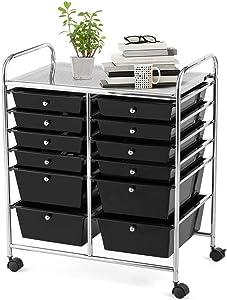 Giantex 12 Drawer Rolling Storage Cart Tools Scrapbook Paper Office School Organizer (Black)