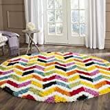 Safavieh Kids Shag Collection SGK565A Ivory and Multi Round Area Rug (6'7″ Diameter) Review