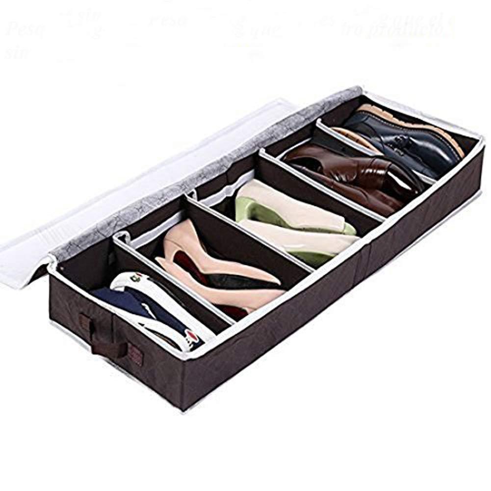 Zapatero Organizador de Zapatos Caja Plegable de Almacenaje de Zapatos para Debajo de la Cama, Armario, Color Marrón (Pesa 1.3kg con Cartón Más Grueso Más ...