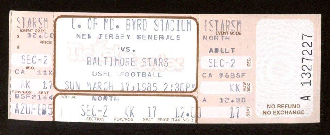 1985 USFL Ticket New Jersey Generals v Baltimore Stars 3/17 Byrd Stadium 43556