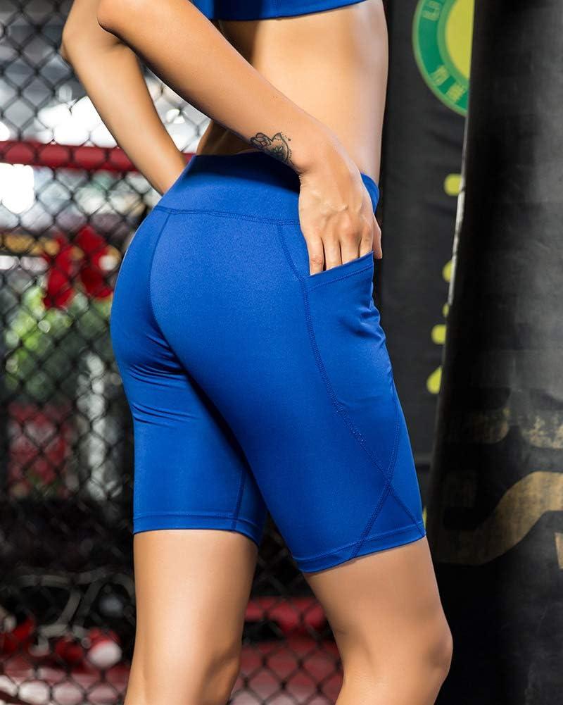 Pantalones Cortos de Deporte Mujeres Yoga Running Pantal/ón Corto Casual Shorts con Bolsillo Lateral
