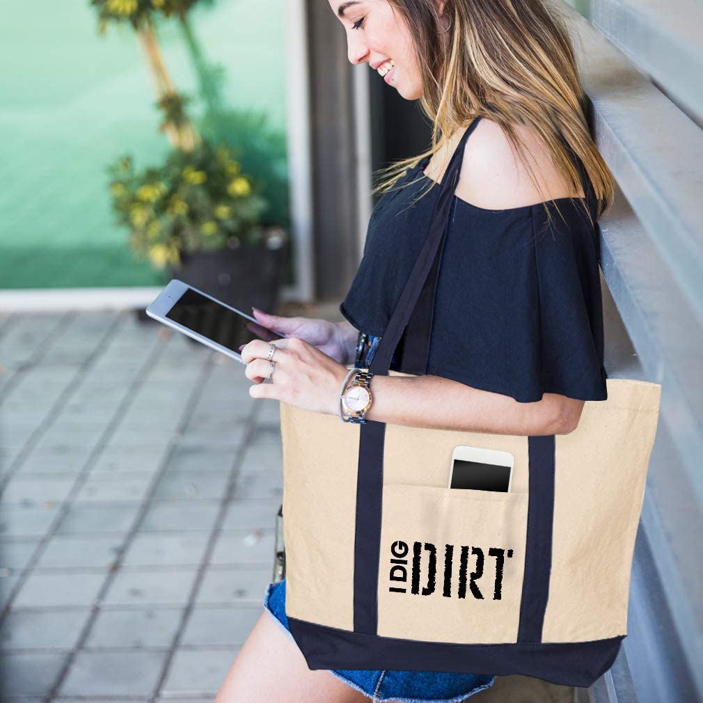 Canvas Shopping Tote Bag I Dig Dirt Inspiration /& Motivation Discover Gibe Beach for Women