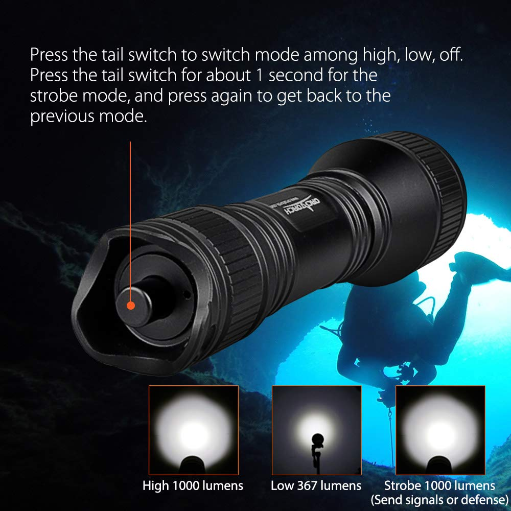ORCATORCH Upgraded Version D550 Dive Light 1000 Lumens Scuba Safety Torch XM-L2 LED Submarine Flashlight with 3400mAh Battery Charger Wrist Strap Waterproof O-Rings ORCATORCH TECHNOLOGY LIMITED Lanyard