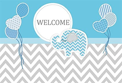 LFEEY 5x3ft Boys Baby Shower Backdrop Prince Little Elephant Balloons Gray Chevron Gender Reveal Backdrops for