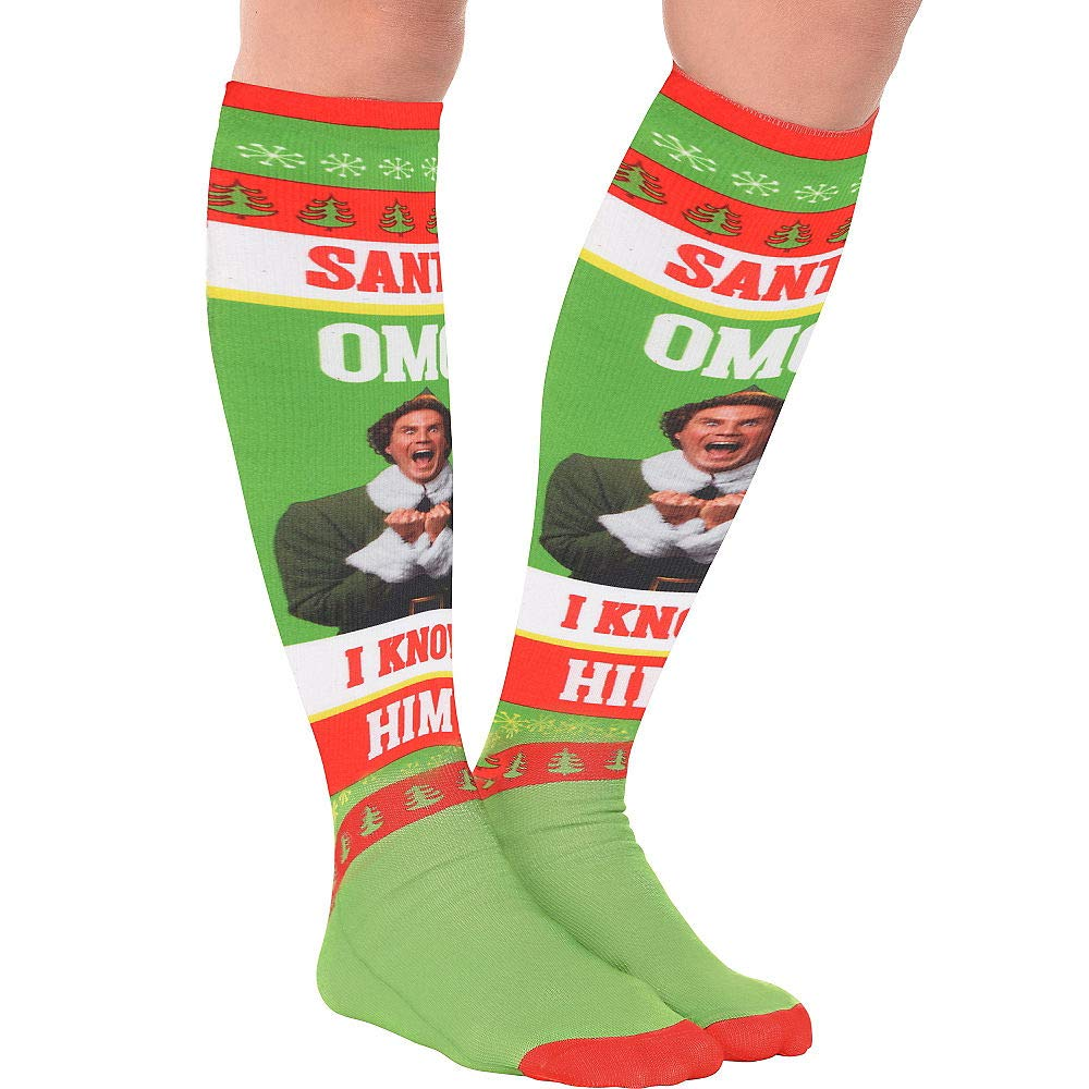 HollyDel Christmas Socks and Scarves; Buddy The Elf Christmas Knee Socks Green