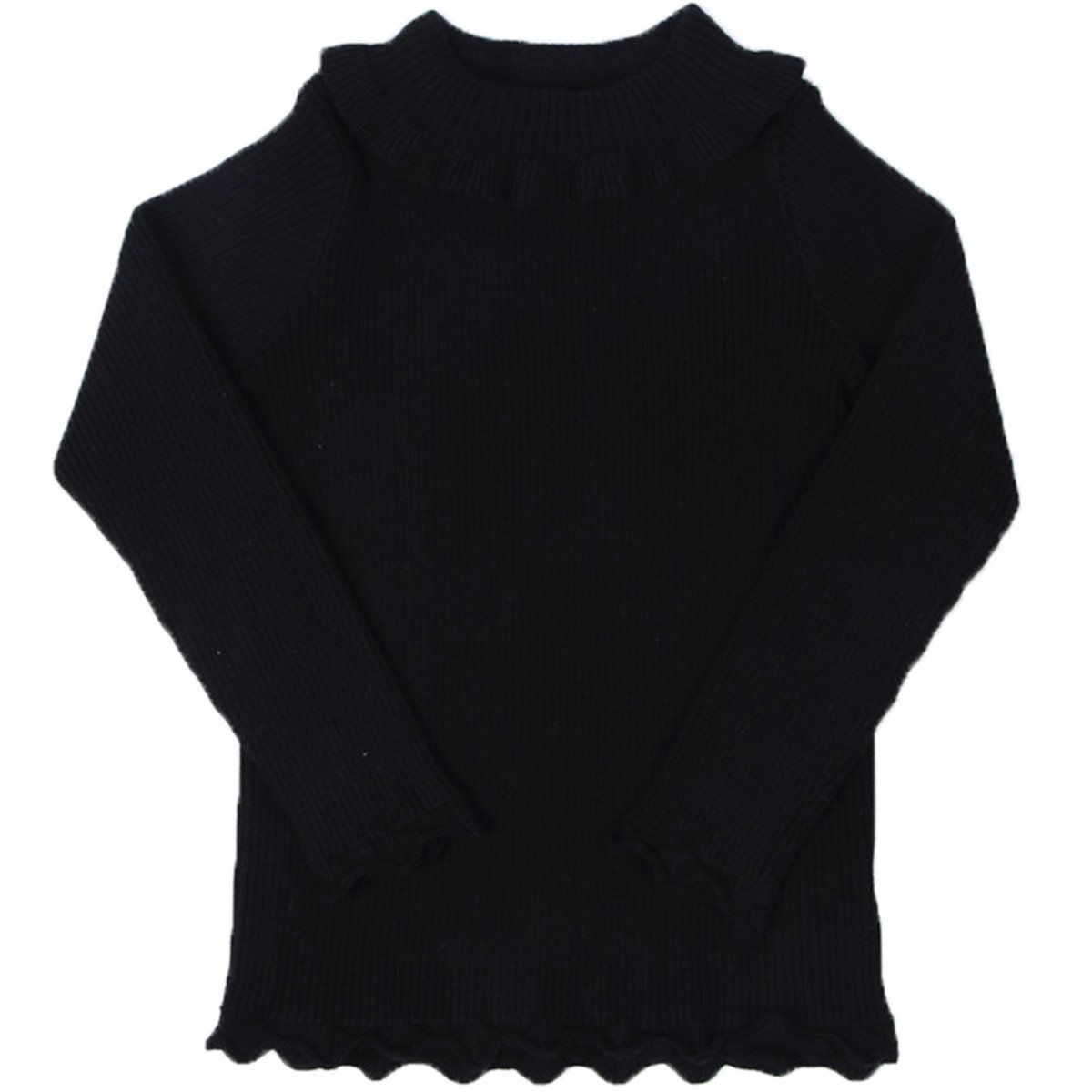 Little Girls Long Sleeve Sweater High Neck Ruflle Fine Knit Sweatshirt Pullover 90cm