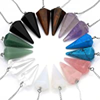 JS Direct Natural Amethyst Rose Quartz Clear Crystal Opalite Multifaceted Pointed Pendulums Reiki Healing Pendants (1 Set (8pcs))
