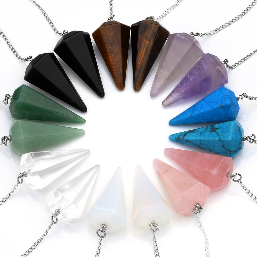 Top Plaza Natural Amethyst Rose Quartz Clear Crystal Opalite Multifaceted Pointed Pendulums Reiki Healing Pendants (1 Set (8pcs))