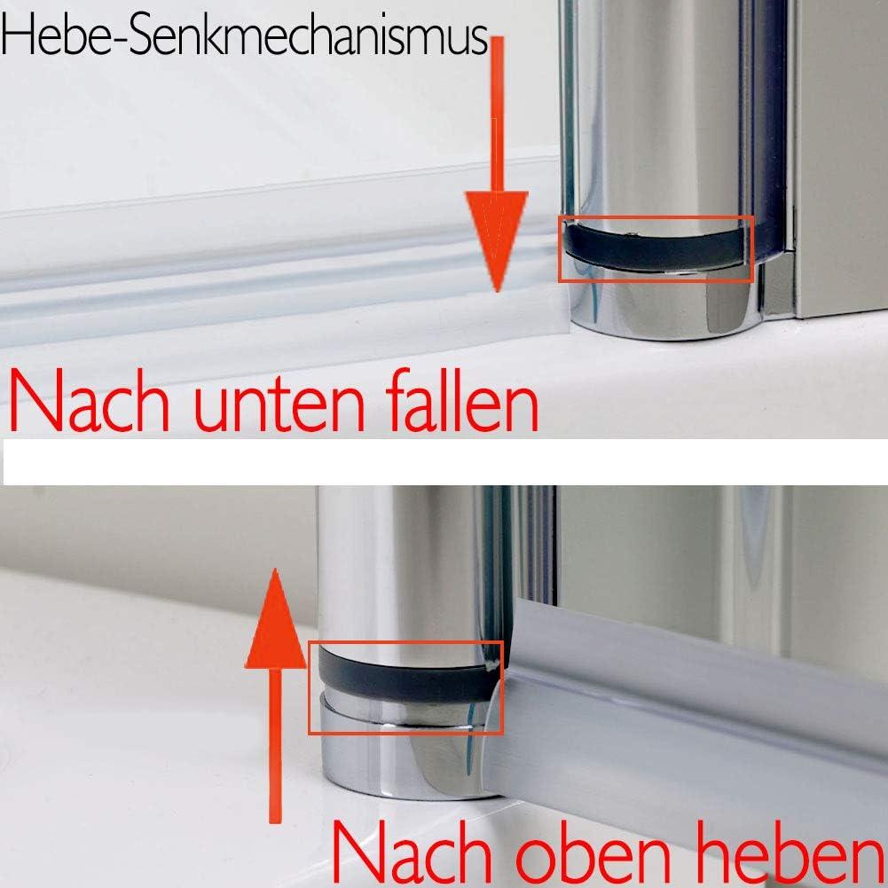SONNI Duschkabine Scharniert/ür Eckeinstieg Duschabtrennung mit Hantestange ohne Rahmen 120x90x195cm