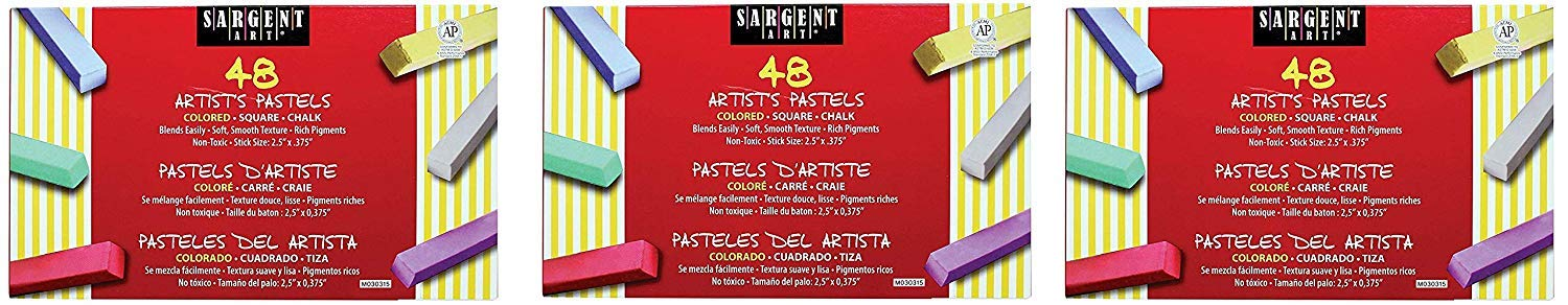 Sargent Art 22-4148 Colored Square Chalk Pastels, 48 Count (Pack of 3)