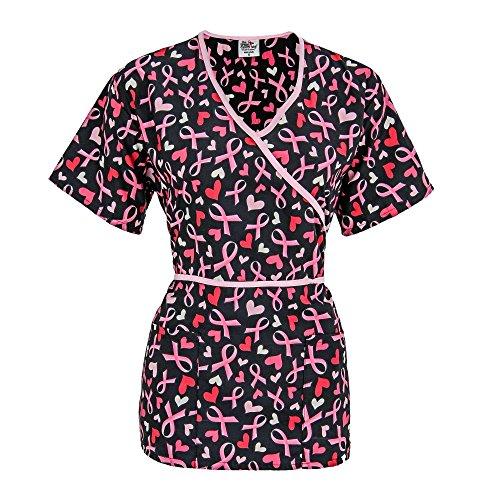Pink Ribbon Scrub (Pink Ribbons & Hearts Scrub Top Black Medium)