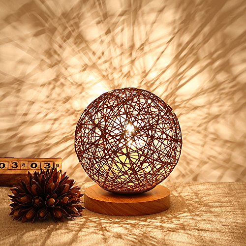 BOKT Minimalist Solid Wood Table Lamp Bedside Desk Lamp Colourful Home Decor Rattan Ball Round Lampshade (Brown)