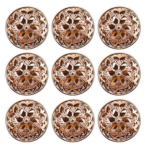 JETEHO 24 PCS Gold Clothes Button, Vintage Hollow Flower Hollow Metal Shank Buttons for Blazer, Suits, Uniform, Coat, Jacket, 25 mm ()
