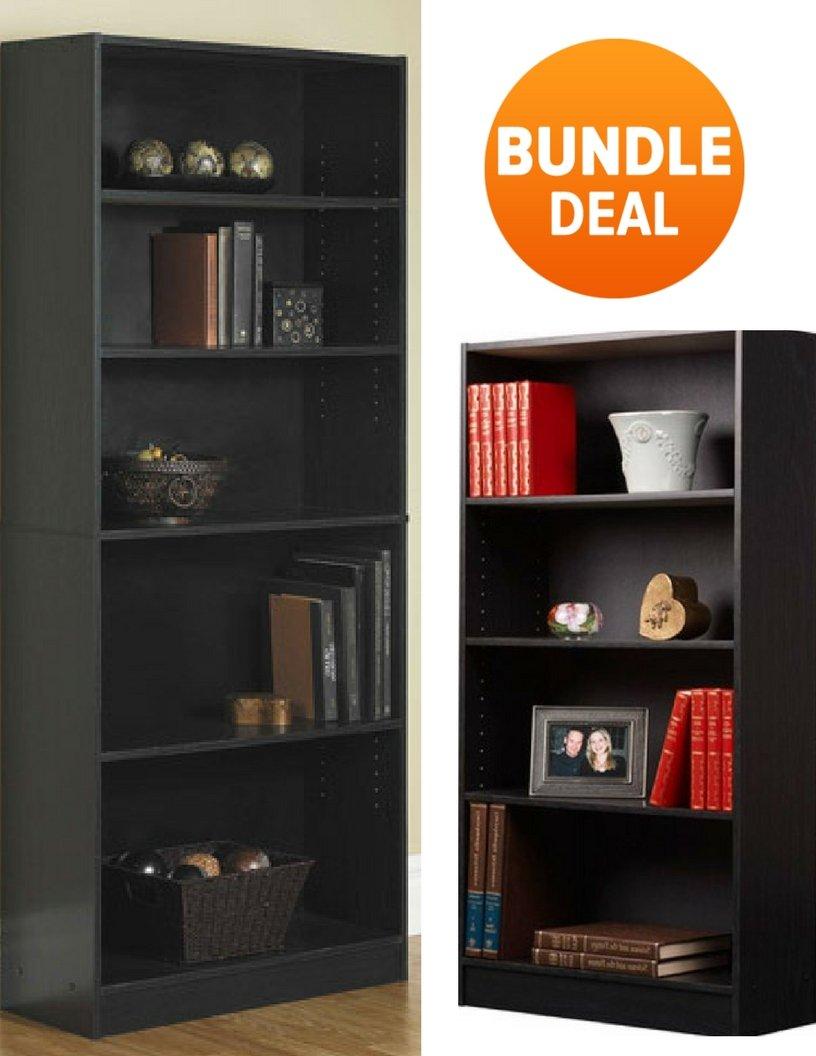 Mainstay` Orion Wide 5-Shelf and 4-Shelf Bookcase in Black Bundle Set