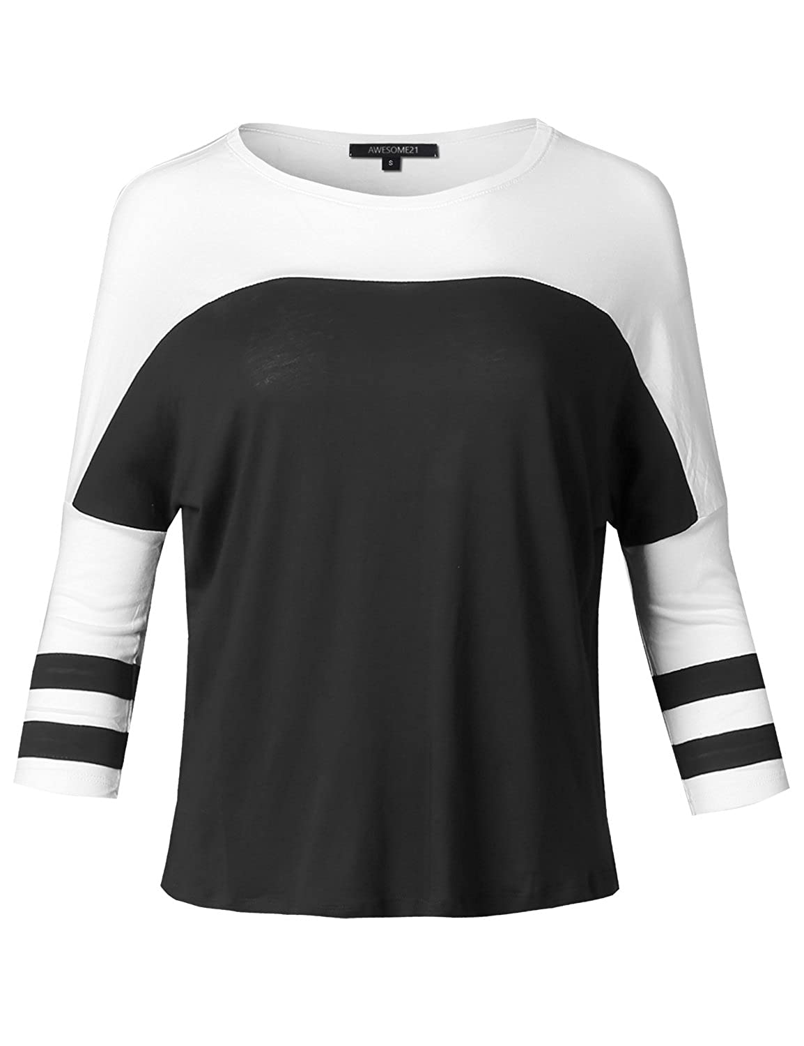 Pro tag 100 cotton 3 4 sleeve raglan baseball shirt in white black - Amazon Com Awesome21 Women S Color Contrast Sleeve Raglan Baseball Tee Top Clothing