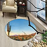 Saguaro Round Rugs Sun Goes Down in Desert Prickly Pear Cactus Southwest Texas National ParkOriental Floor and Carpets Orange Blue Green