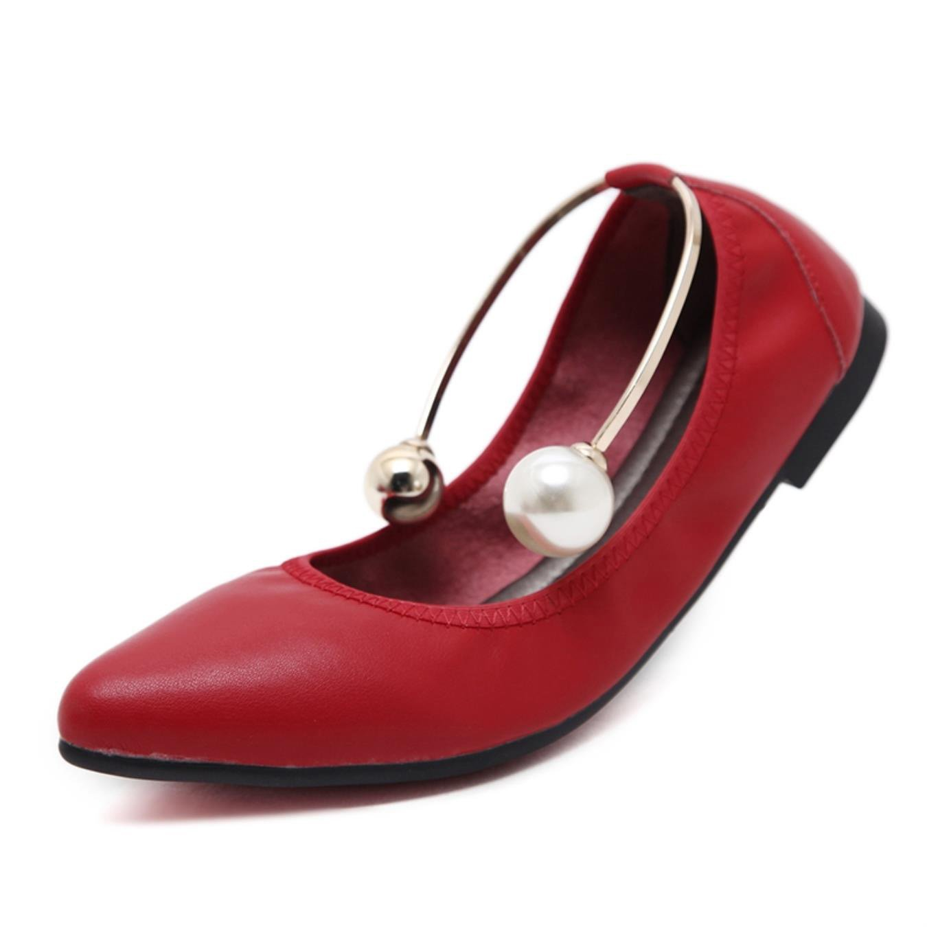 Dancing Soft flat shoes for women Leather String Bead pointed toe flats Top quality