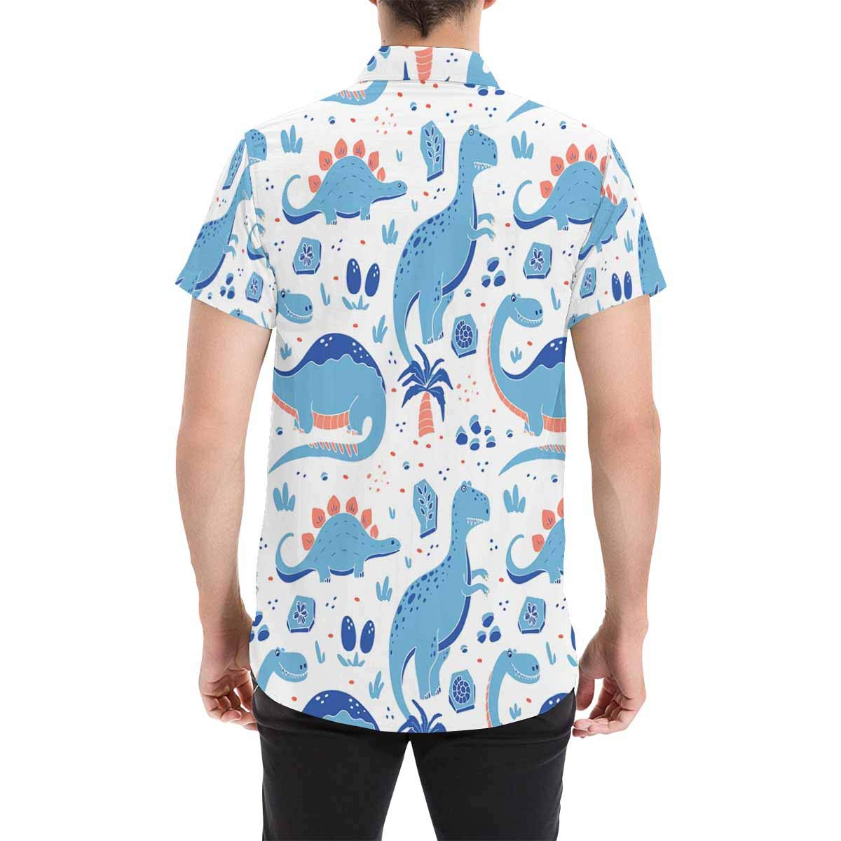 InterestPrint Cute Blue Dinosaurs T-Shirt Summer Shirt Stand Collar Beach Top for Men