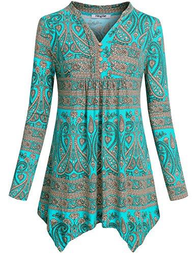 Hibelle Long Sleeve Tunic, Womens Fashion Clothes Ruffle Hem Floral Printed Designer Empire Waist Fitted Highwaist Tee Shirt Nice Tops Blouse for Women Peplum Green XXL