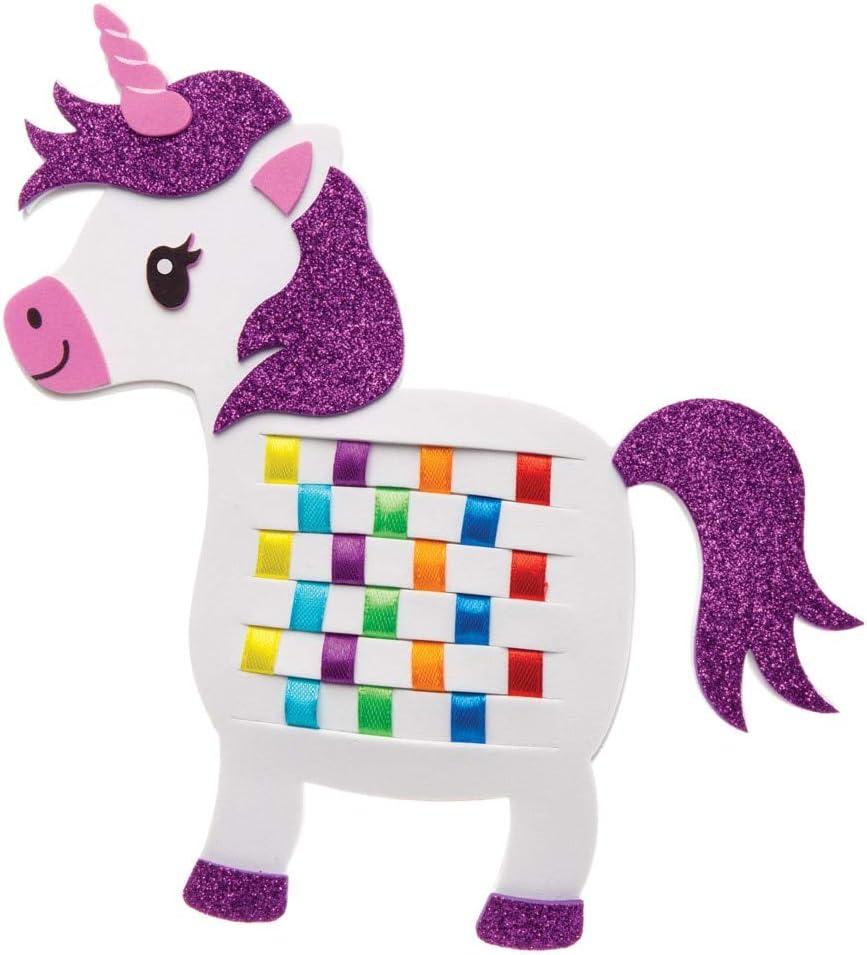Ribbon and Template Pattern Designs for Children Pack of 6 Baker Ross Rainbow Unicorn Weaving Kit AW630